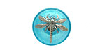 Czech Glass Caribbean Blue w/ Metallic Silver Dragonfly Button 18mm