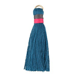Teal w/ Pink and Charcoal Binding & Jump Ring Thread Tassel 41mm