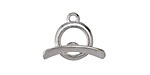 Saki Sterling Silver Modern Circle Toggle Clasp 13x16mm, Bar 21mm