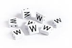 "White Enamel 2-Hole Tile Square Bead w/ Letter ""W"" 8mm"