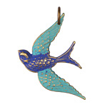 Vintaj Vogue Natural Brass Fanciful Bird 31.5x42mm