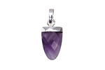 Amethyst Faceted Rounded Point Pendant w/ Silver Finish 10x20mm