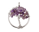 Amethyst Silver Finish Wire-Wrapped Tree of Life Pendant 28-29x35mm
