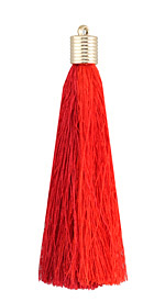 Cherry Thread Tassel w/ Metallic Gold Plastic Tassel Cap 101mm