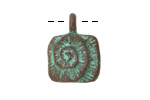 Greek Copper (plated) Patina Square Spiral Pendant 18x23mm
