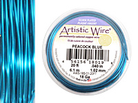 Artistic Wire Silver Plated Peacock Blue 18 gauge, 20 feet