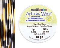 Artistic Wire MultiColor Silver/Gold/Black 18 Gauge, 2 Yards