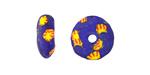 African Recycled Glass & Seed Bead Cobalt w/ Yellow Mini Donut 5-6x13-15mm