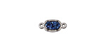 Metallic Blue Cosmos Druzy Small Oval Bezel Link in Silver Finish 13x6mm