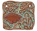 Gaea Ceramic Robin's Egg on Brick Leaf Connector 45x39mm