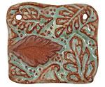 Gaea Ceramic Robin's Egg on Brick Leaf Connector 45x39mm