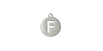"""Stainless Steel Initial Coin Charm """"F"""" 10x12mm"""