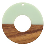Walnut Wood & Sweet Mint Resin Donut Focal 45mm