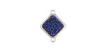 Metallic Indigo Crystal Druzy Diamond Link in Silver Finish Bezel 16x12mm