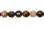 Black Petrified Wood Faceted Round 8mm
