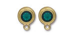 TierraCast Gold (plated) Stepped Bezel Ear Post w/ Emerald Crystal 12x17mm