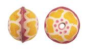 Hand Painted Buttercup Leather Round Bead 20-22mm
