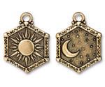 TierraCast Antique Gold (plated) Sun & Moon Pendant 15x28.5mm