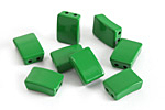 Kelly Green Enamel 2-Hole Tile Rectangle Bead 12x8mm