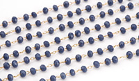 Blue Dusk Crystal 3mm Delicate Brass Bead Chain