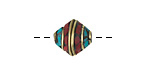 Tibetan Brass Saucer Bead w/ Coral & Turquoise Mosaic 12-13mm
