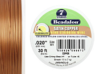 "Beadalon Satin Copper Nylon Coated Stainless Steel .020"" 7 Strand Wire 30ft."