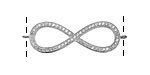 Silver (plated) CZ Micro Pave Infinity Link 35x12mm