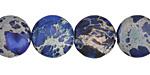 Midnight Blue Impression Jasper Puff Coin 14mm
