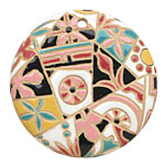 Golem Studio Barcelona Mosaic Carved Ceramic Circle Pendant 45mm