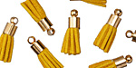 Yellow Ochre w/ Gold (plated) Bead Cap Faux Suede Tassel 17mm