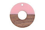 Wood & Rose Resin Open Coin Focal 28mm