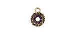 Zola Elements Antique Gold (plated) Beaded Royal Purple Textured Coin Charm 10x13mm