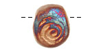 Xaz Raku Stan's Rust Large Spiral Pressed Drop 17-20x21-23mm