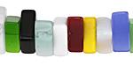 Multi-Color Glass Square Slice 4-9x12-19mm