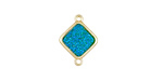 Metallic Green Turquoise Crystal Druzy Diamond Link in Gold Finish Bezel 16x12mm