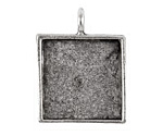 Nunn Design Antique Silver (plated) Large Square Bezel Pendant 26x34mm