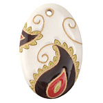 Golem Studio Ivory & Brown Paisley Carved Ceramic Oval Pendant 38mm