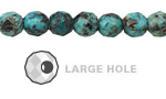African Turquoise Faceted Round (Large Hole) 8mm