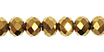 Metallic Antique Gold Crystal Faceted Rondelle 10mm