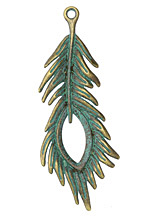 Patina Green Brass (plated) Open Eye Peacock Feather 28x71mm