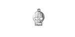 Silver (plated) Flat Skull Charm 8x11mm