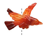 Carnelian (natural) Carved Bird 25-28x39-42mm