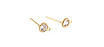 Clear CZ Gold (plated) Stainless Steel Disc w/ Loops Post Earring 5x7mm