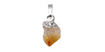 Citrine Natural Cut Drop Pendant w/ Silver Finish 9-11x18-21mm