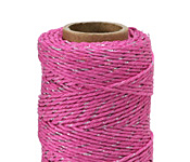 Hot Pink & Metallic Silver Hemp Twine 20 lb, 205 ft