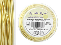 Artistic Wire Bare Yellow Brass 18 gauge, 10 yards