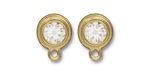 TierraCast Gold (plated) Stepped Bezel Ear Post w/ Crystal 12x17mm