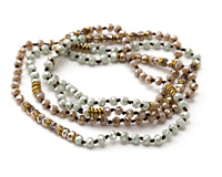"""Morning Mist Crystal Mix Knotted Necklace 35"""""""