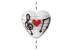 Grace Lampwork Musical Love Note Heart 19-20mm