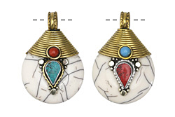 Tibetan White Shell & Brass Drop Pendant w/ Turquoise & Coral 26x39mm